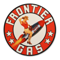"""FRONTIER PIN-UP GAS 12"""" SIGN"""