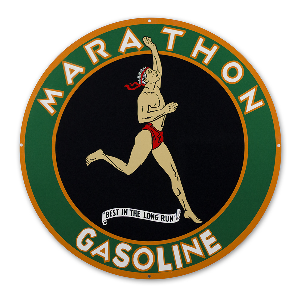 "MARATHON GASOLINE 30"" SIGN"