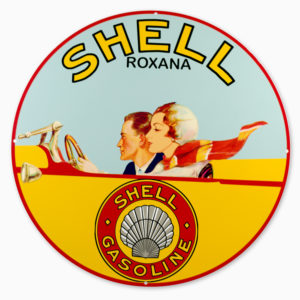 "SHELL ROXANA GASOLINE 30"" SIGN"