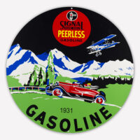 "SIGNAL PEERLESS GASOLINE 30"" SIGN"