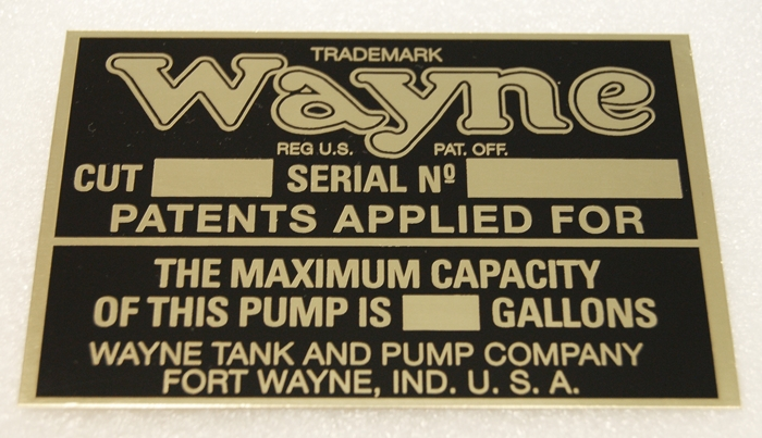 WAYNE 615 NAME PLATE