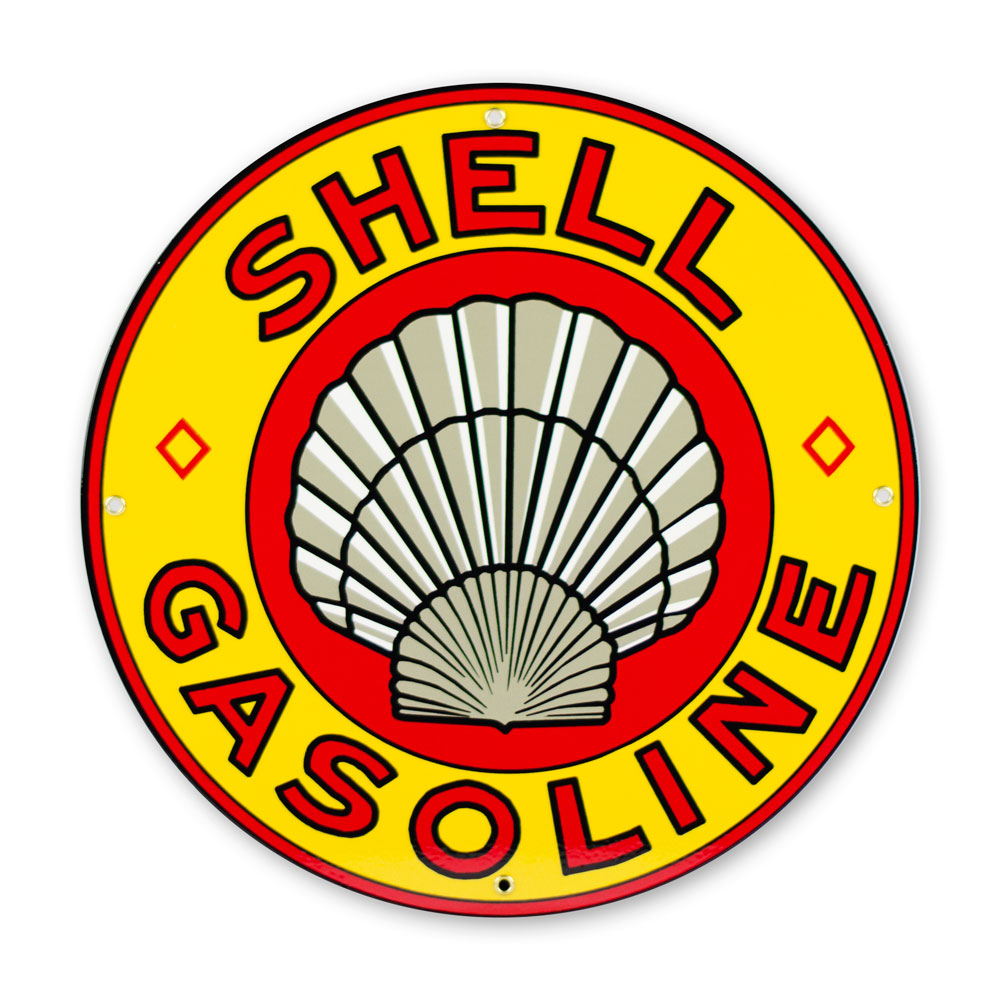 "SHELL GASOLINE 12"" SIGN"