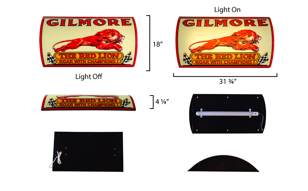 GILMORE RED LION LIGHTED SIGN